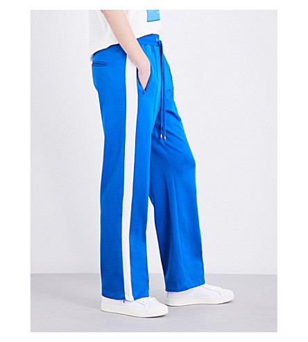 MO&CO. Striped knitted track pants (Imperial blue