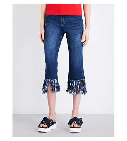 MO&CO. Raw-hem straight-leg jeans (Blue+denim