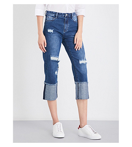 MO&CO. Distressed cropped high-rise jeans (Blue+denim