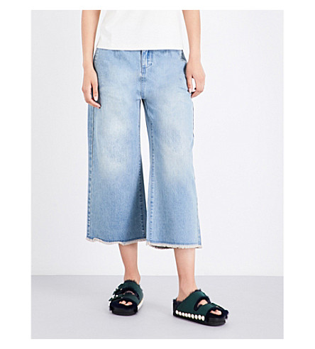 MO&CO. High-rise flared cropped jeans (Blue+denim