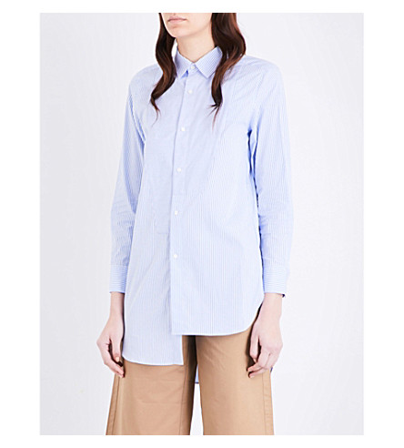 MO&CO. Striped asymmetric cotton-poplin shirt (Blue+and+white