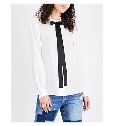 MO&CO.蝴蝶结细节真丝衬衫 (雪 + 白