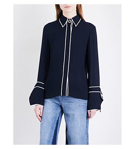 MO&CO. Contrast-trim crepe shirt (Peacoat