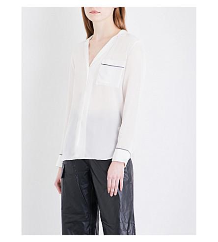 MO&CO. Contrast-trim silk-crepe shirt (Snow+white