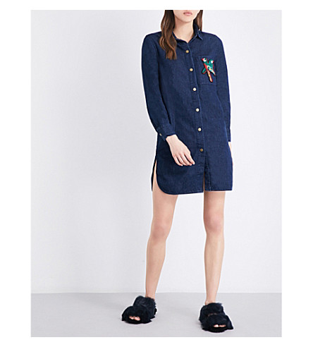 MO&CO. Parrot-embellished denim shirt dress (Blue+denim