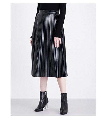 MO&CO. Pleated high-rise faux-leather skirt (Black