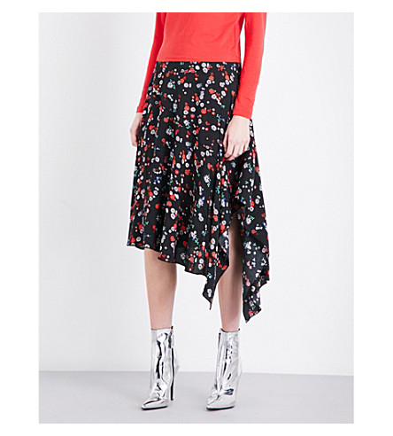 MO&CO. Floral-print silk skirt (White+pattern