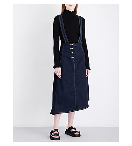 MO&CO. Suspender-strap high-rise denim skirt (Blue+denim