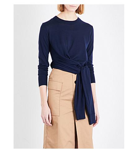 MO&CO. Tie-waist wool jumper (Peacoat