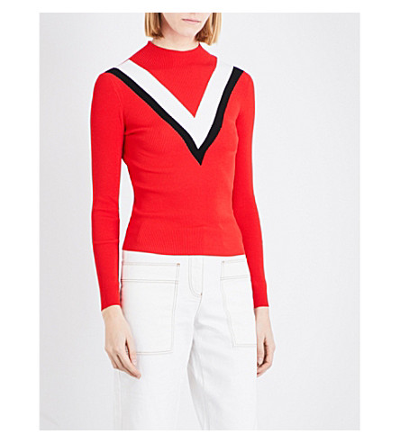 MO&CO. High-neck knitted jumper (Fiery+red