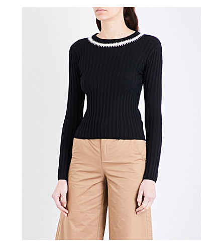MO&CO. Ribbed stretch-knit sweater (Black