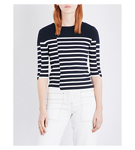 MO&CO. Striped knitted jumper (Blue+and+white
