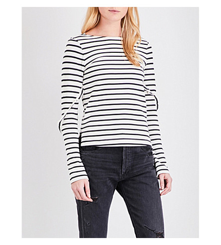 MO&CO. Striped long-sleeved pure-cotton T-shirt (Black+and+white