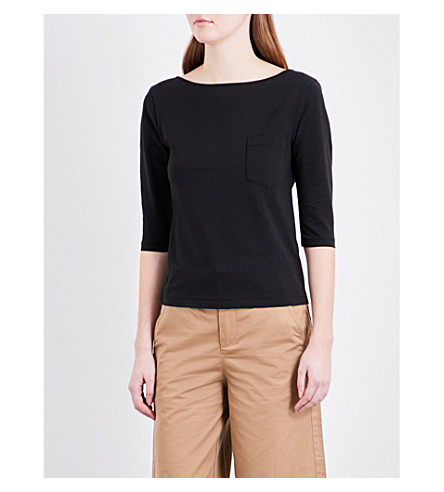 MO&CO. Scooped stretch-cotton top (Black