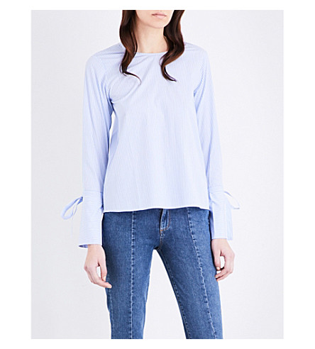 MO&CO. Striped cotton-poplin blouse (Blue+and+white