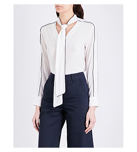 MO&CO. Pussybow silk blouse (Snow+white