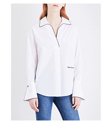 MO&CO. Embroidered cotton-poplin shirt (Snow+white