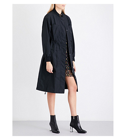 MO&CO. Text-print shell trench coat (Black