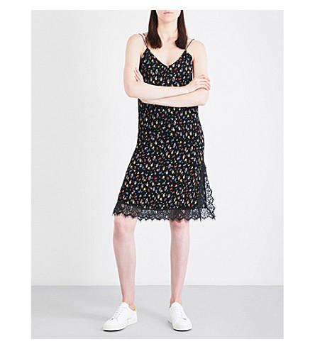 MO&CO. Floral-print crepe slip dress (Apricot+pattern