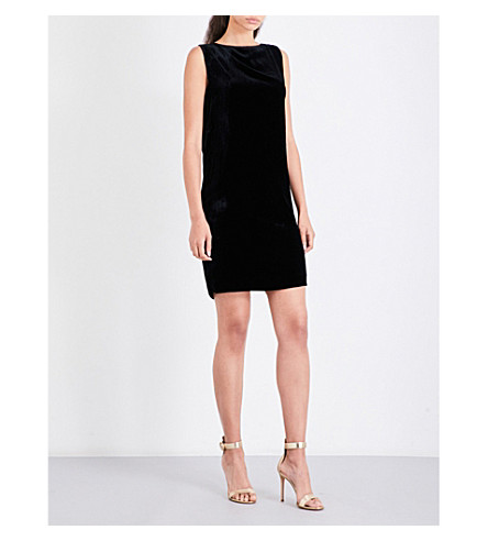 MO&CO. Draped open-back velvet mini dress (Black