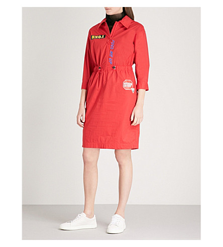 MO&CO. Embroidered-patch stretch-cotton shirt dress (Fiery+red