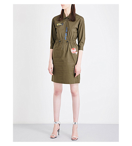 MO&CO. Embroidered-patch stretch-cotton shirt dress (Plantation