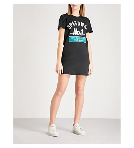 MO&CO. Printed cotton-jersey dress (Black