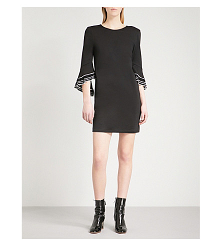 MO&CO. Bell-sleeve jersey mini dress (Black