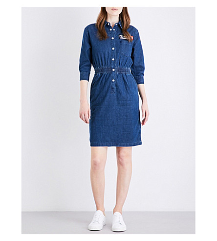 MO&CO. Racing-patch denim dress (Blue+denim