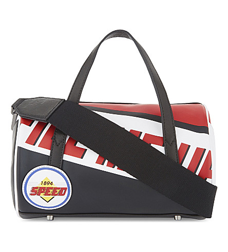 MO&CO. Racing leather barrel bag (Black