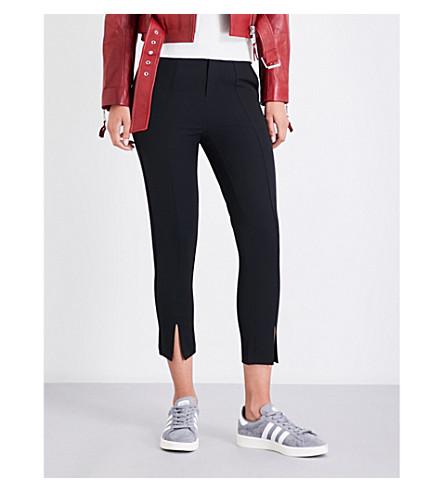 MO&CO. Tapered cropped gabardine pants (Black