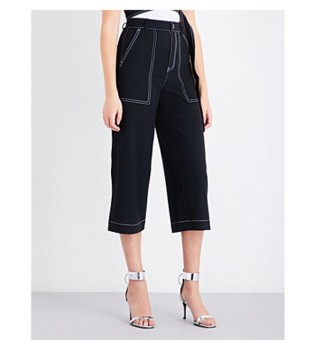 MO&CO. Contrast-stitch wide high-rise crepe trousers (Black