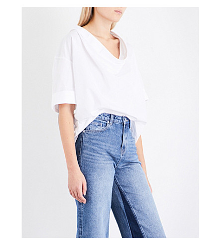 MO&CO. Draped-back cotton-poplin top (Snow+white