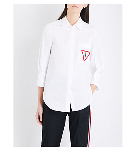 MO&CO. Embroidered-patch cotton shirt (Snow+white