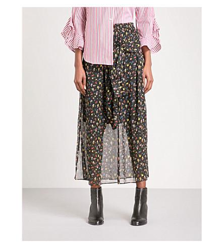 MO&CO. Floral chiffon skirt (Apricot+pattern