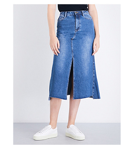 MO&CO. Split-hem denim skirt (Blue+denim