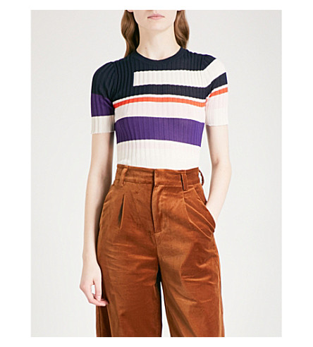 MO&CO. Striped knitted top (Pink+and+purple