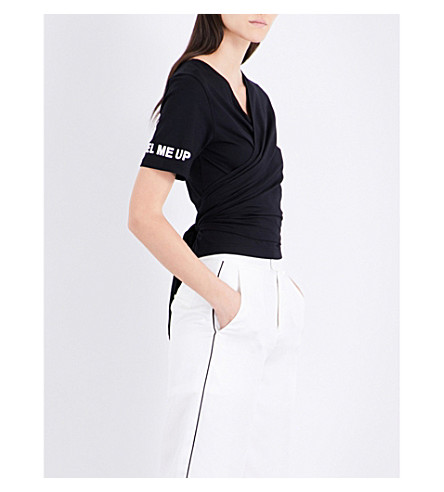 MO&CO. Tie-back jersey top (Black