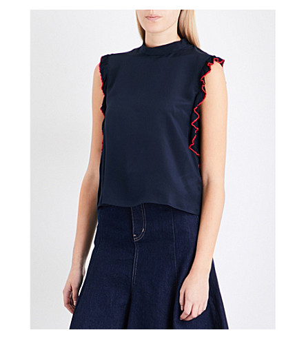 MO&CO. Frilled-detail silk-crepe de chine top (Peacoat