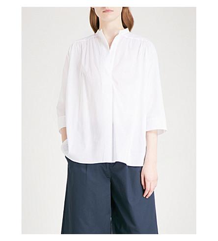 MO&CO. Band-collar cotton-voile shirt (Snow+white