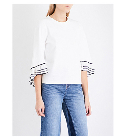 MO&CO. Frilled-sleeve cotton-jersey top (Snow+white