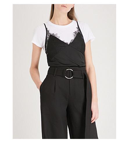 MO&CO. Eyelash-trim stretch-silk camisole (Black