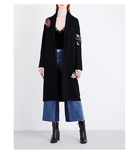 MO&CO. Embroidered long knitted wool cardigan (Black