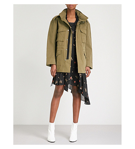 MO&CO. Stand-collar cotton-twill coat (Olive+drab