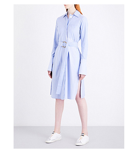 MO&CO. Striped cotton shirt dress (Blue+and+white