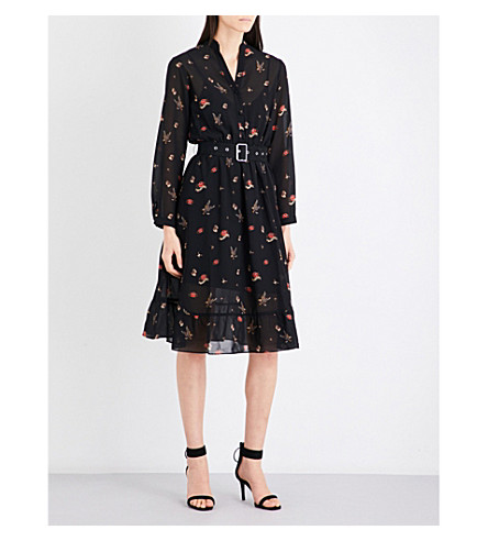 MO&CO. Printed chiffon dress (Black