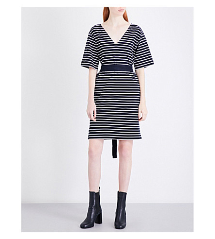 MO&CO. Striped cotton-jersey dress (Blue+and+white
