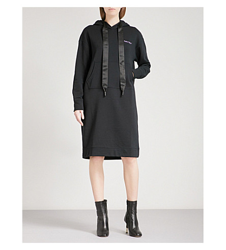 MO&CO. Embroidered-detail cotton-jersey hoody dress (Black