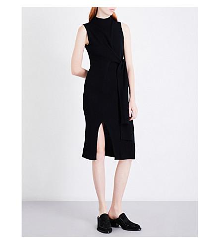 MO&CO. Sleeveless wool-blend dress (Black