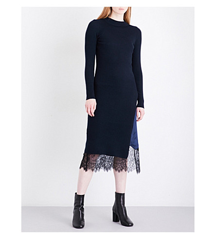 MO&CO. Satin slip-detail knitted dress (Peacoat